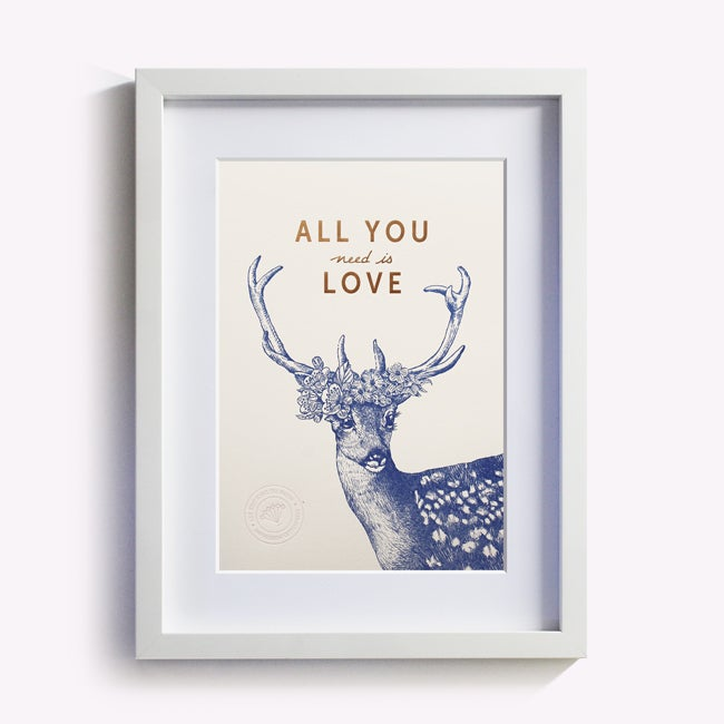 "Image of AFFICHETTE ""ALL YOU NEED IS LOVE"" BLANC ROSÉ"