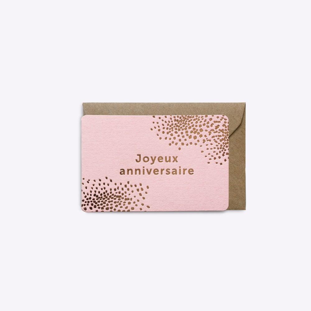 Image of MINI-CARTE JOYEUX ANNIVERSAIRE ROSE