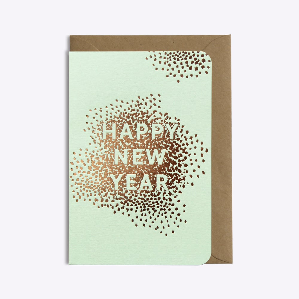 Image of CARTE HAPPY NEW YEAR VERT PISTACHE