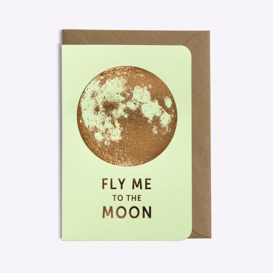 Image of CARTE FLY ME TO THE MOON VERT PISTACHE