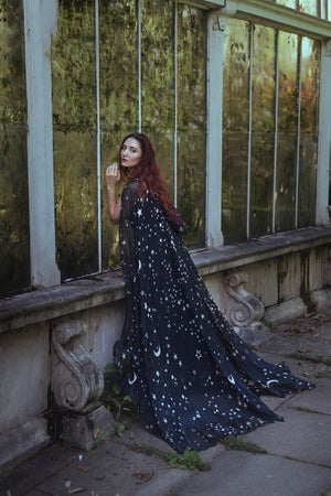 Image of Black Stars & Moons Chiffon Cloak