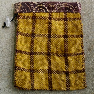 Image of Gold and Brown stripe plaid, gaming bag
