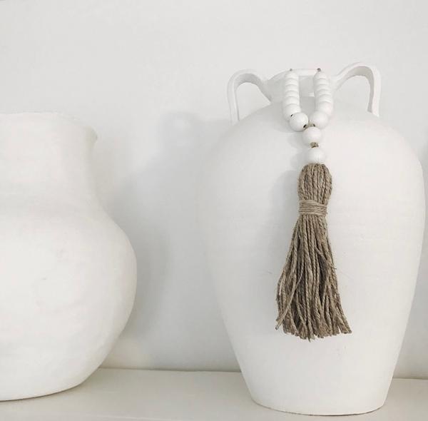 Image of MINI Love Beads - White Beads w/ Natural Hemp Tassel