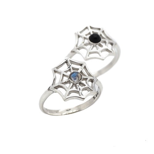 Image of Sterling Silver & Rainbow Moonstone Spiders Web Ring