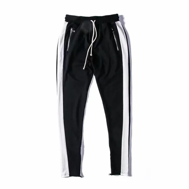 Image of White Striped Zip Up Jogger