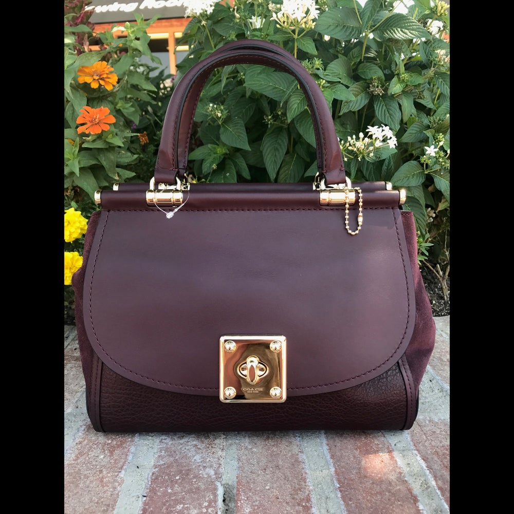 Image of COACH BURGUNDY DRIFTER CARRYALL IN MIXED LEATHERS