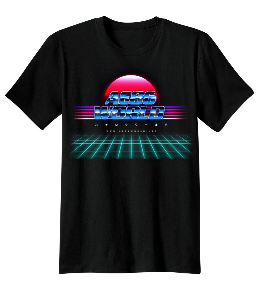 Image of *Pre-Order* Black T-Shirt,  Neon Glow 'AE86 World'