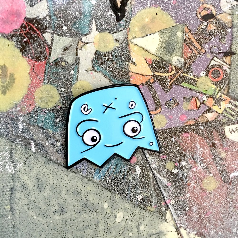 Image of Happy Ghost - Enamel Pin - Blue