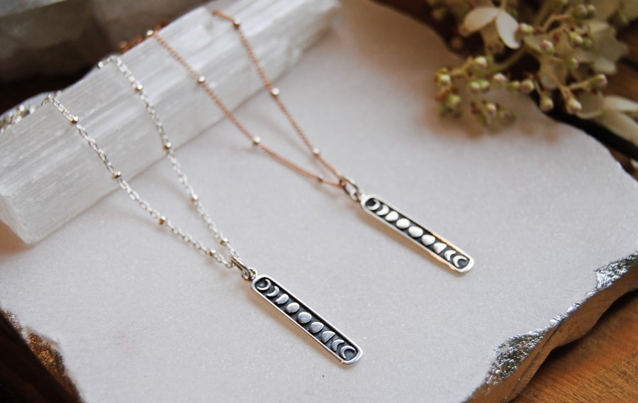 Image of Sterling moon phases bar necklace