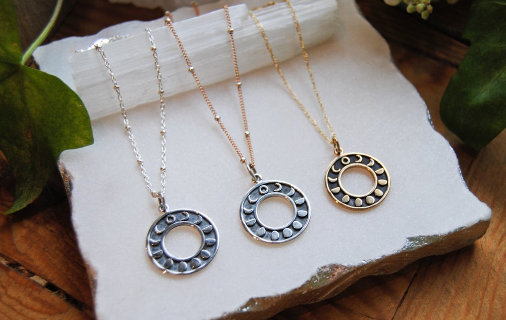 Image of Circle moon phases necklace