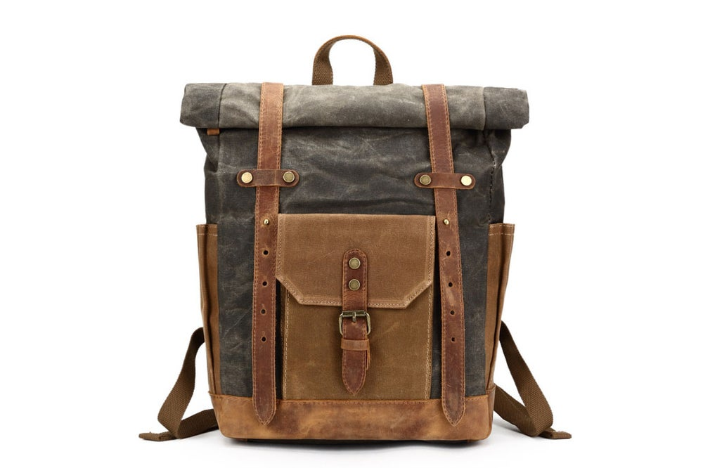 Image of Waxed Canvas Backpack, Rucksack, Travel Backpack 8808