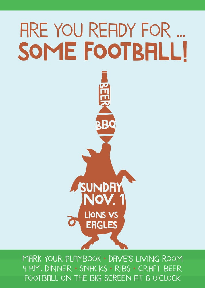 Image of Football Party Invitation
