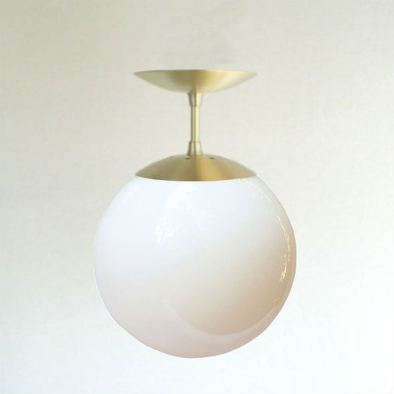 Orbiter 10 white globe semi flush pendant light sanctum for Mid century modern globe pendant light
