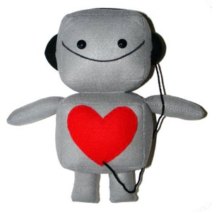 Image of Large Gray Robot Plush Toy with Headphones