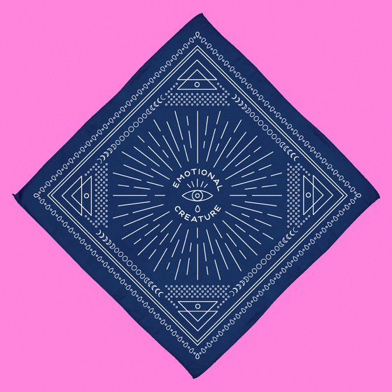 "Image of ""EMOTIONAL CREATURE"" BANDANA, NAVY."