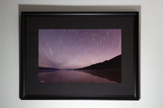 """Image of Star Trail Reflection on a Windless Night, 16x24"""" Framed Print"""