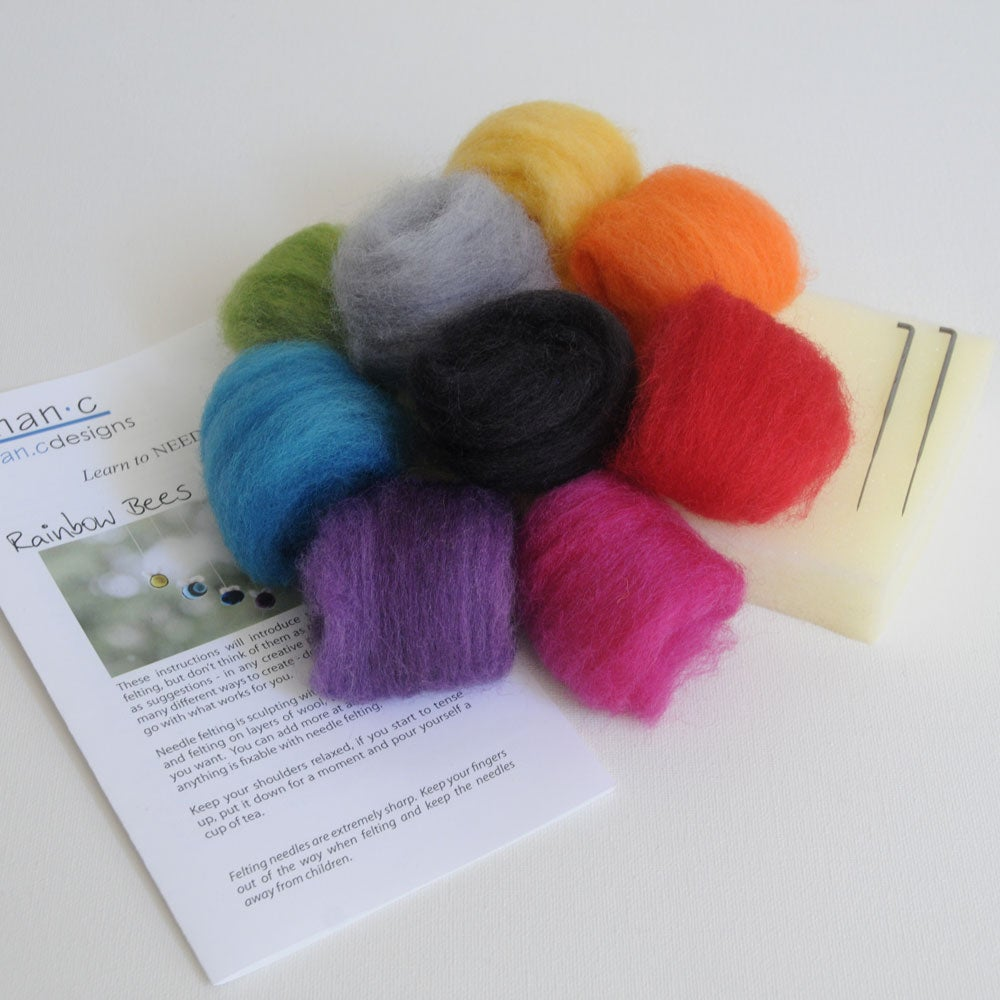Image of Rainbow Bees - Needle Felting Kit