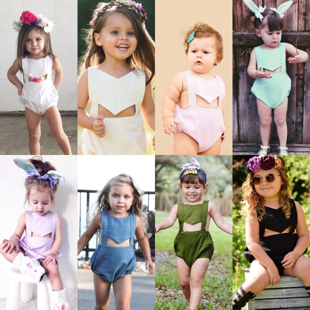 Image of Solid original LLB panel romper collection