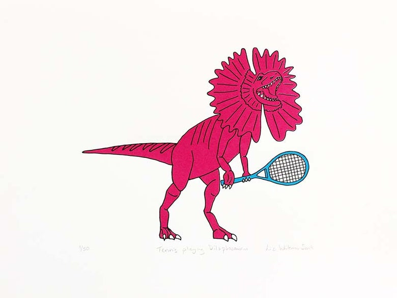 Image of Tennis playing Dilophosaurus