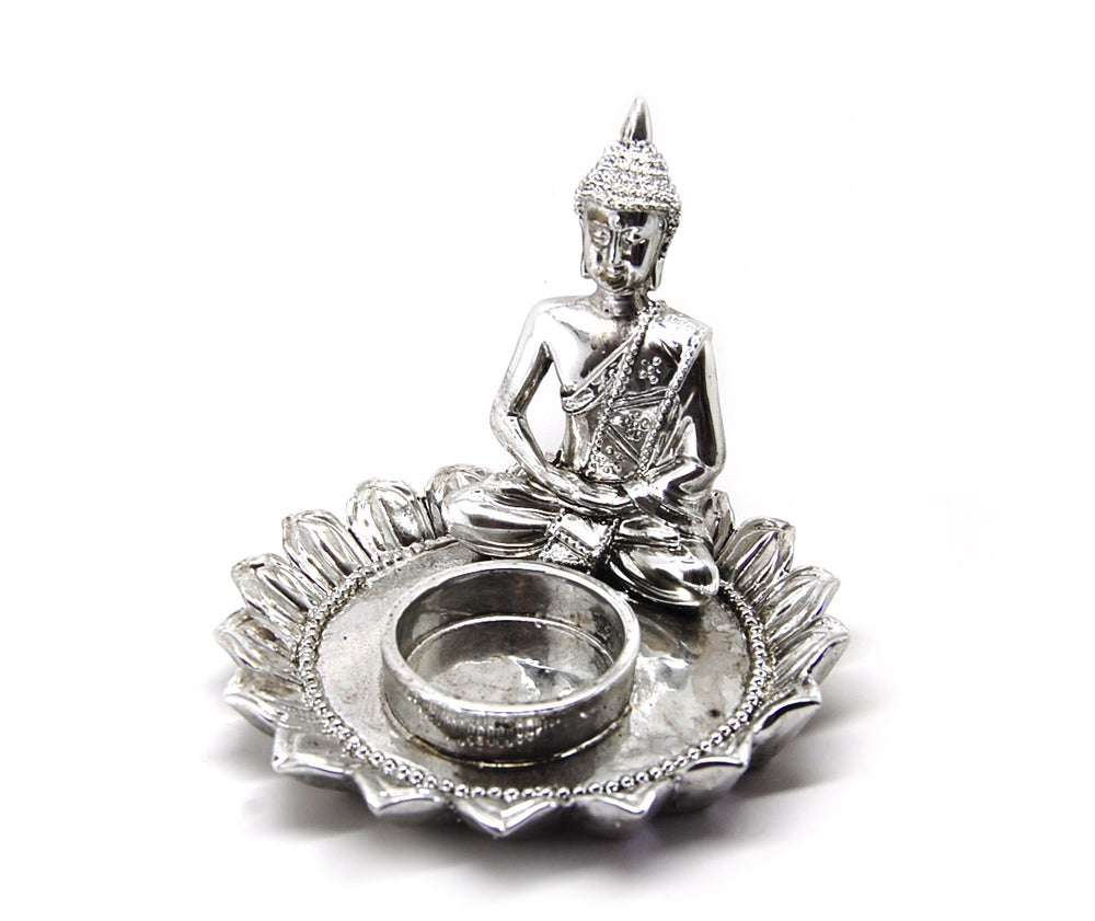 Image of Silver Buddha Tealight Holder