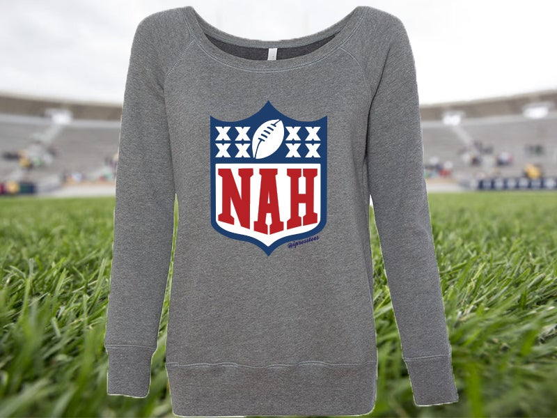 Image of Nah Football - ladies wide neck fleece sweatshirt