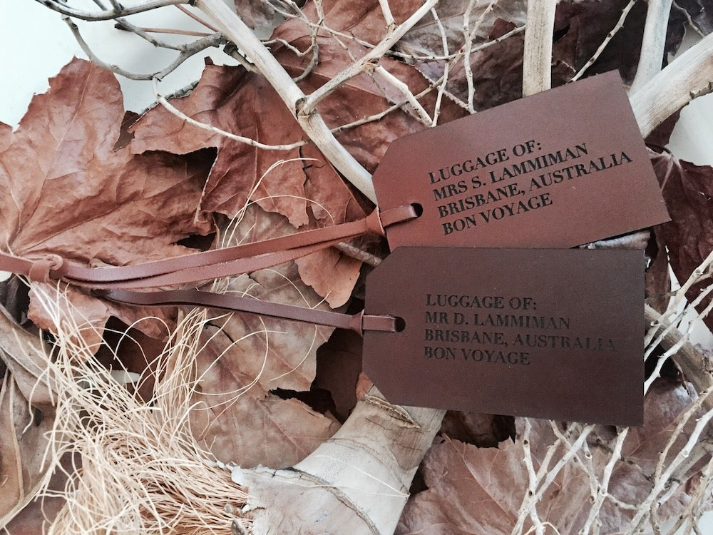 Image of Etched Collection Leather Luggage Tags