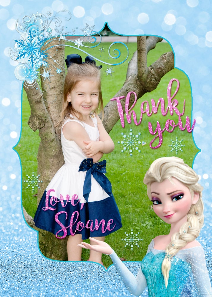 Image of Frozen themed Birthday Thank You Cards
