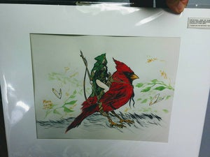 Image of inked and water colored pixie woman on cardinal