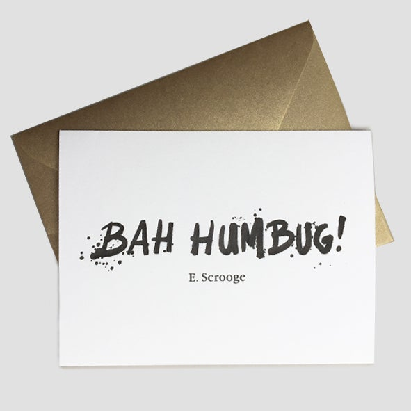 Image of Bah Humbug - card with gold envelope