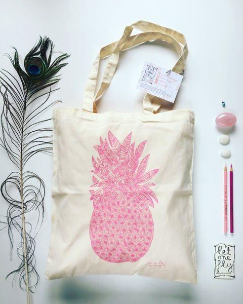 Image of Tote bag *pink pineapple*