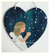 Image of Large Make a Wish Sparkle Heart Decoration