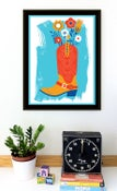 Image of Howdy Love Cowboy Boot & Flowers Silkscreen Art Print - New!