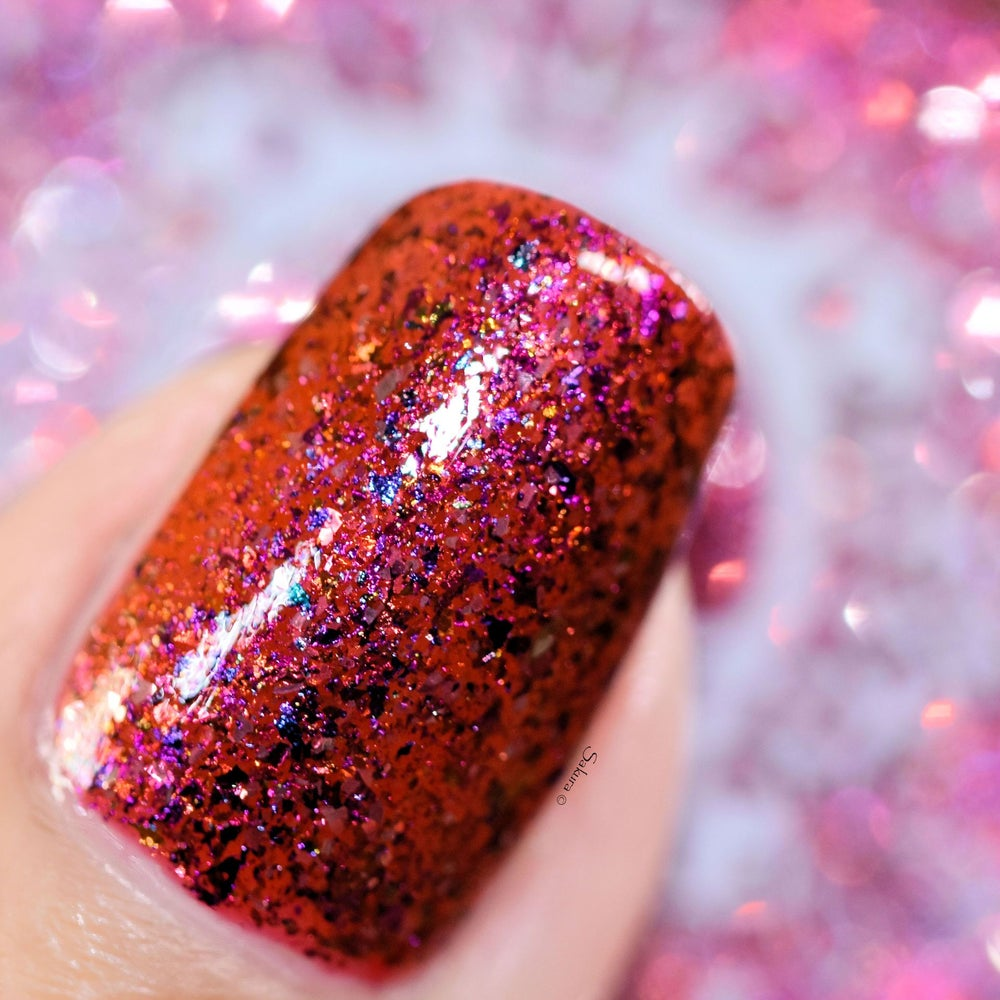 Image of ~One Tiny Ruby/~ red jelly packed w/multichrome and silver flakes!
