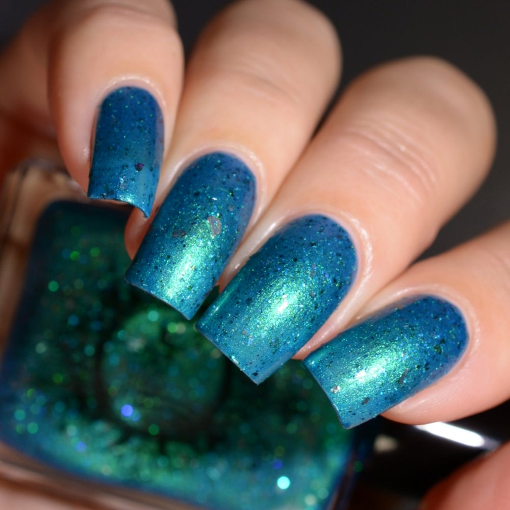 Image of ~Out of the Woods~ blue-green duochrome w/multichrome & silver flakes and microglitters!
