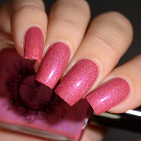 Image of ~Pink Velvet~ warm creamy pink holo w/subtle cool magenta pink shimmer!