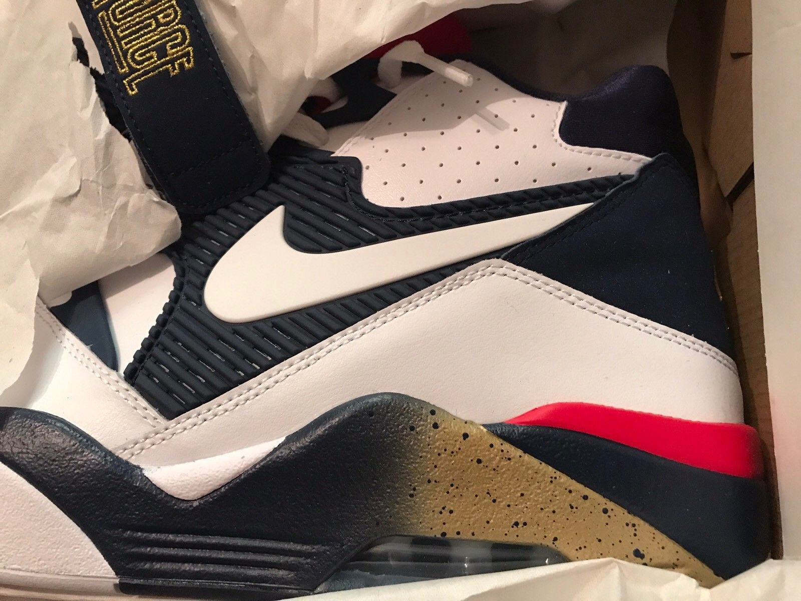 Image of Nike Air Force 180 size 13 Charles Barkley USA Dream Team-White Gold Blue - New