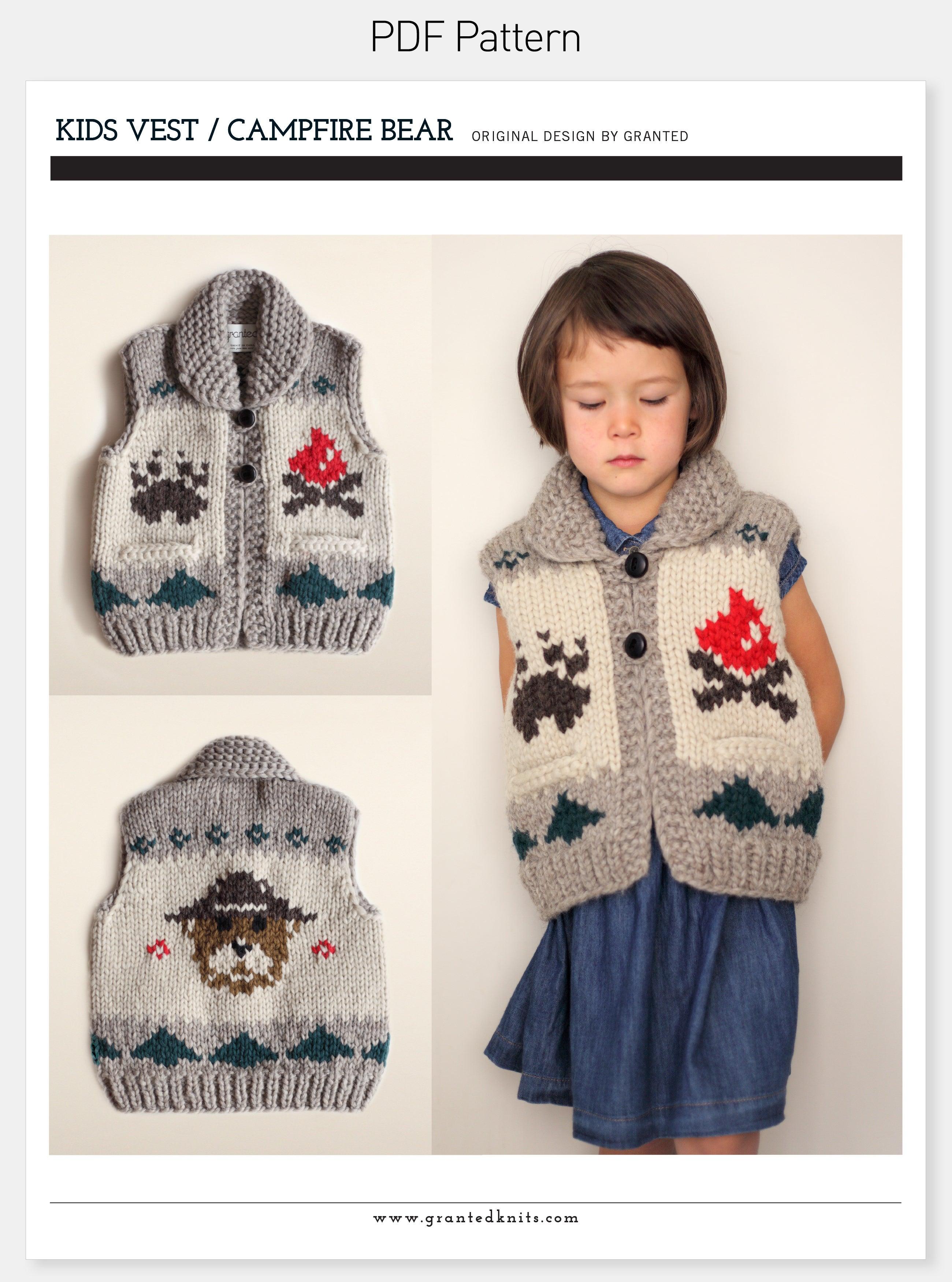 Kids Campfire Vest Pattern (PDF) / Granted Knits