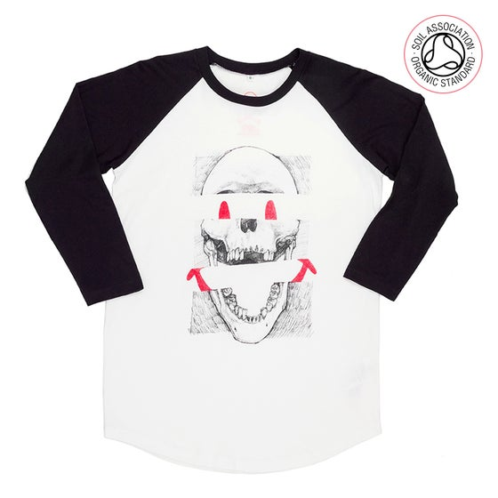 Image of Smiley Skull Unisex White Baseball T-shirt (Organic)