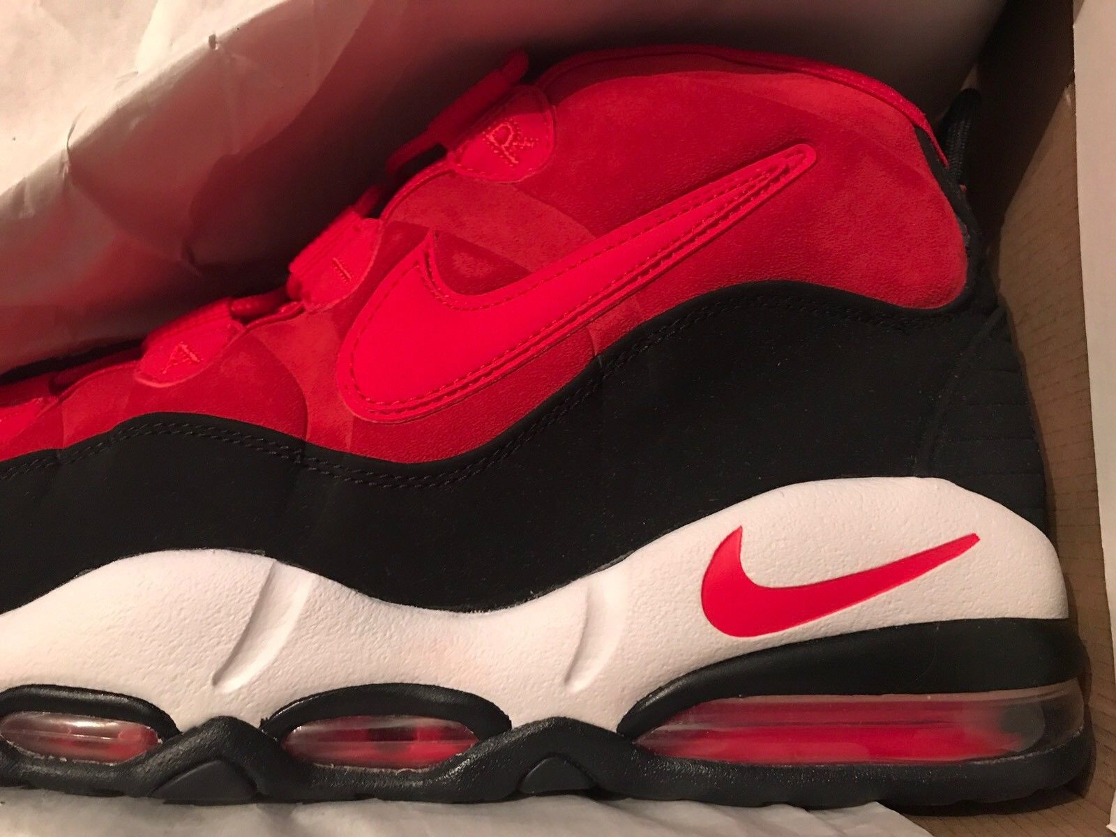 Image of Nike Air Max Uptempo University Red Black White Size 13 New DS