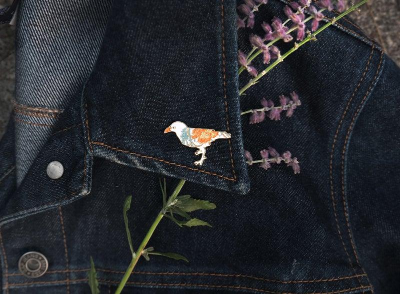 Image of Albino Crow Floret Pin - *NEW*