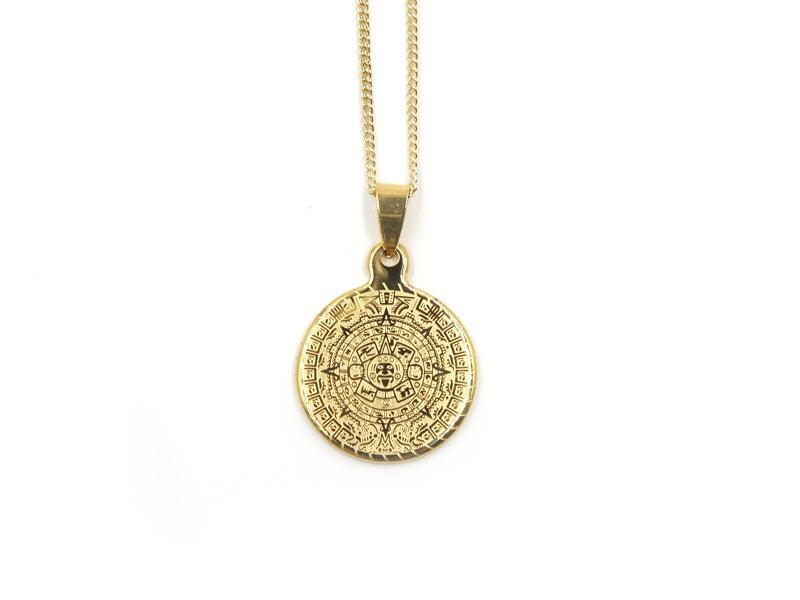 Aztec calendar necklace honey b gold aztec calendar necklace mozeypictures Images