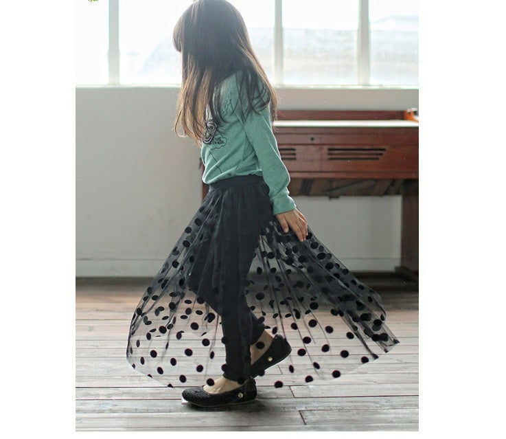 Image of Polka Dot Tulle Skirted Leggings