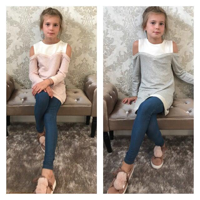 Image of Girls cold shoulder sweater