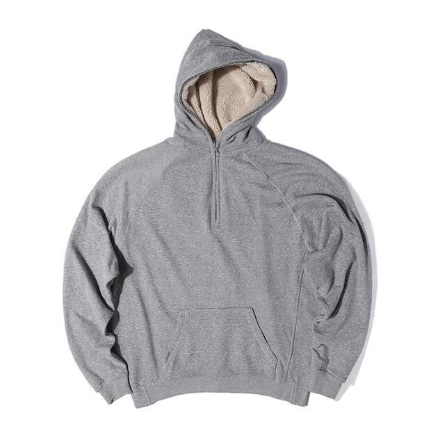 Image of Grey Halfzip Fleece Hoodie.