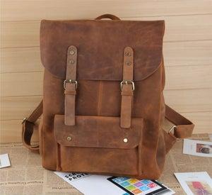 """Image of Large Vintage Handmade Leather Backpack / Satchel / Travel Bag / 17"""" Laptop 17"""" MacBook Bag (B01)"""