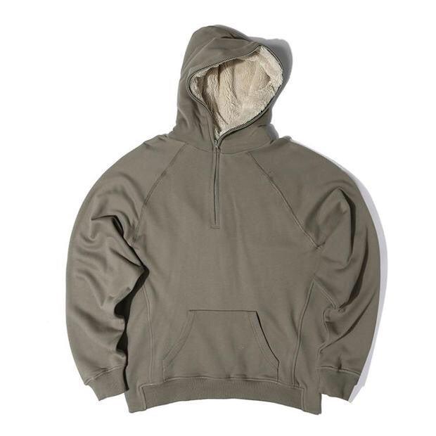 Image of Army Green Half Zip Fleece Hoodie