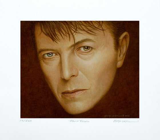 Image of ***EXCLUSIVE** NEW GEORGE UNDERWOOD SIGNED LIMITED EDITION DAVID BOWIE 2017 ART PRINT
