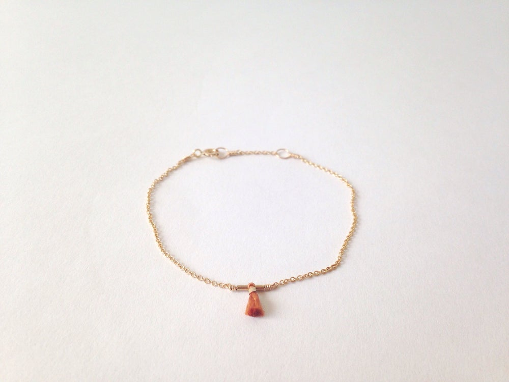 Image of Petite tassel bracelet - burnt orange