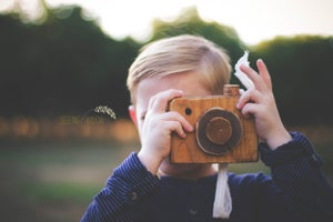 Image of Hand Crafted, Children's Camera, Rustic Wood Photo Prop with Wine Cork Clicker