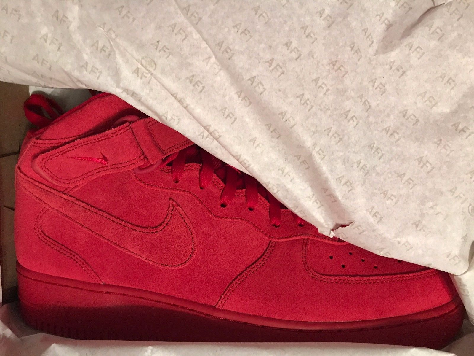 Image of NIKE AIR FORCE 1 MID - Triple Red - SIZE 13 - NEW